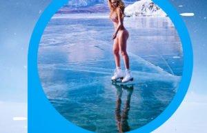 На коньках и в купальнике. Лера Туманова зимой на озере Байкал