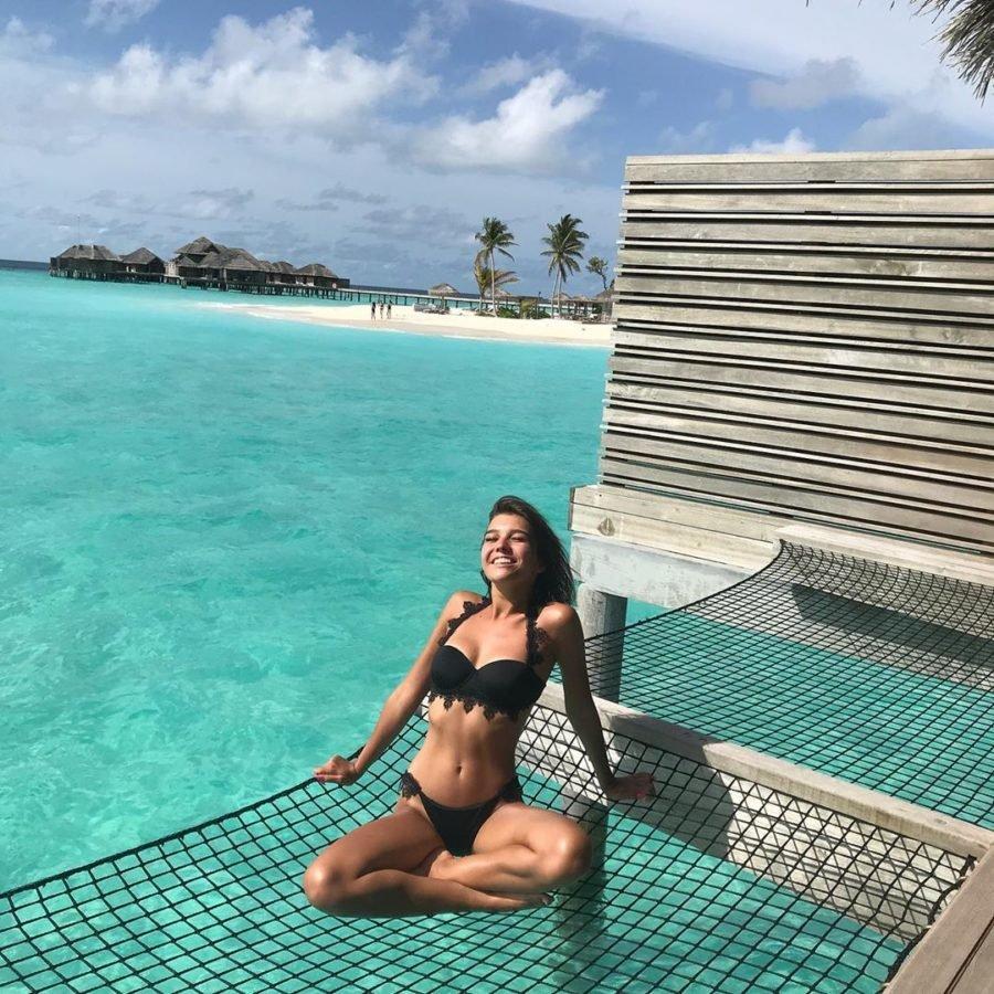 Анна Музафарова отдыхает на Мальдивах, 2019 год