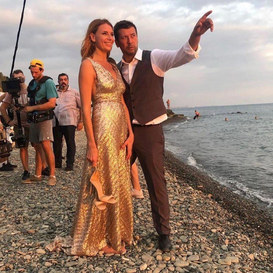 Андрей Мерзликин и Любовь Толкалина на съемках клипа Леонида Агутина