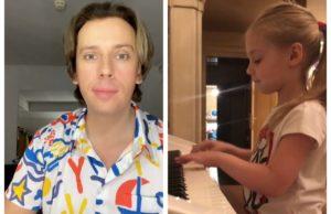 Максим Галкин показал дочку Лизу за пианино, объясняющую чему она научилась